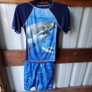 BOYS OP Shark Swim Shirt and Shorts
